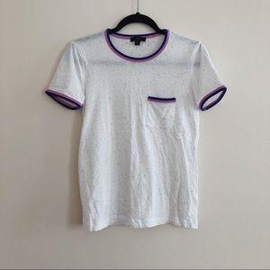 🍭*J Crew Speckled Ringer Pocket White T-Shirt